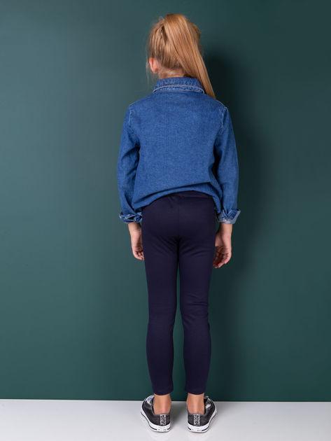 Granatowe legginsy dziewczęce zapinane na suwak                              zdj.                              3