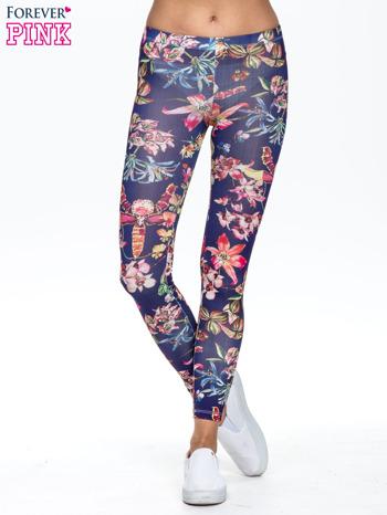 Granatowe legginsy z egzotycznym nadrukiem
