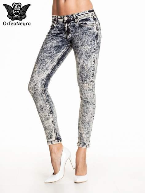 Granatowe marmurkowe spodnie skinny jeans