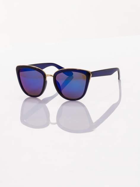 """Granatowe okulary przeciwsłoneczne w stylu """"kocie oczy"""" lustrzanka"""