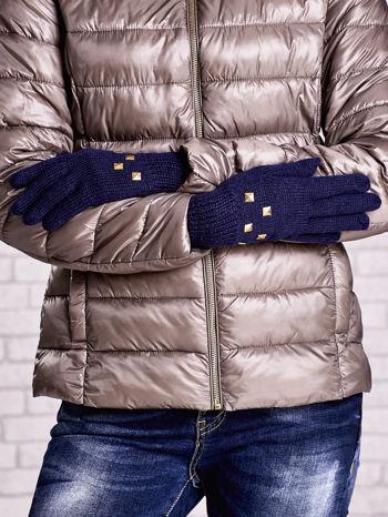 Granatowe rękawiczki z ćwiekami i ściągaczem                                  zdj.                                  2