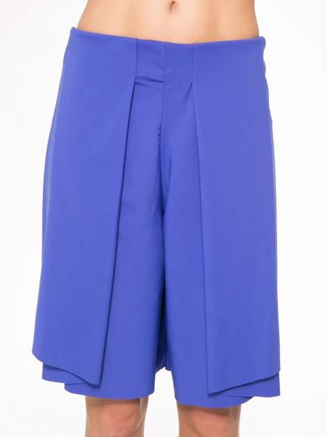 Granatowe spódnicospodnie z zakładkami                                  zdj.                                  2