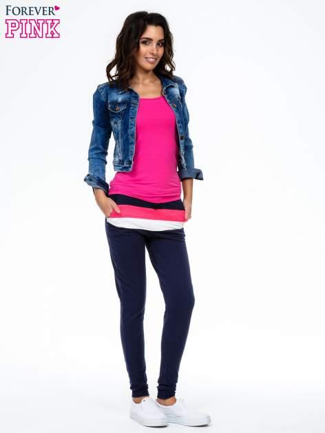 Granatowe spodnie dresowe z kolorową wstawką                                  zdj.                                  2