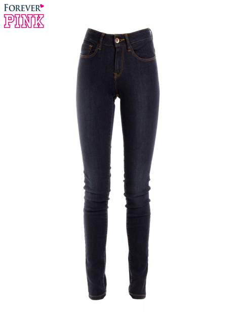 Granatowe spodnie jeansowe z wysokim stanem                                  zdj.                                  1