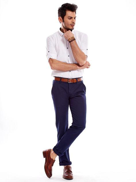 Granatowe spodnie męskie regular                              zdj.                              12