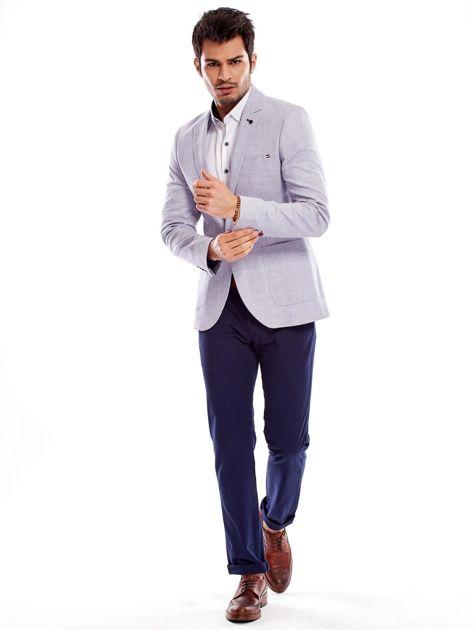 Granatowe spodnie męskie regular                              zdj.                              15