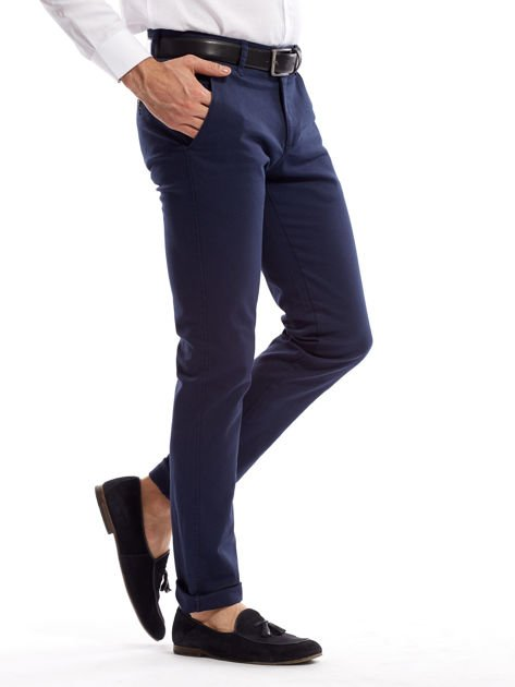 Granatowe spodnie męskie slim fit                              zdj.                              3