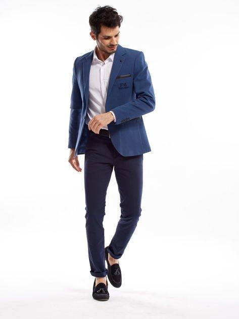 Granatowe spodnie męskie slim fit                              zdj.                              6