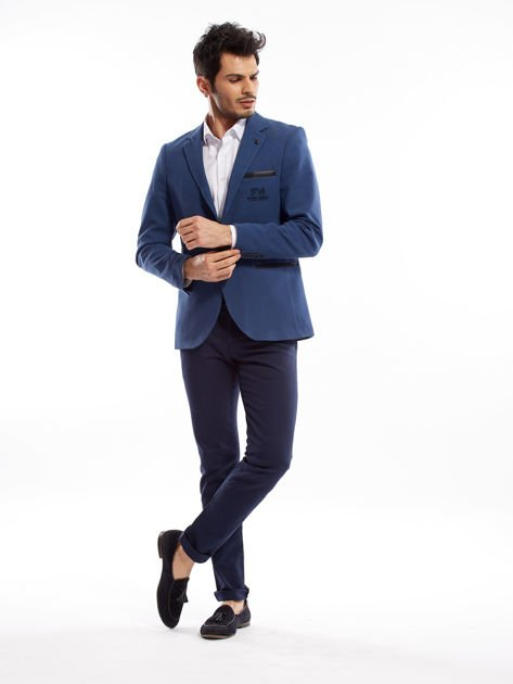 Granatowe spodnie męskie slim fit                              zdj.                              7