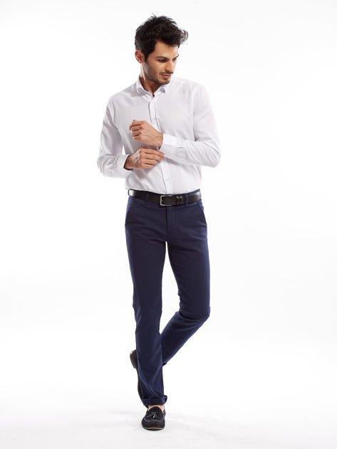 Granatowe spodnie męskie slim fit                              zdj.                              9