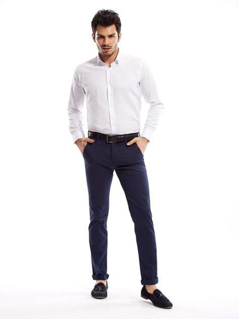 Granatowe spodnie męskie slim fit                              zdj.                              13