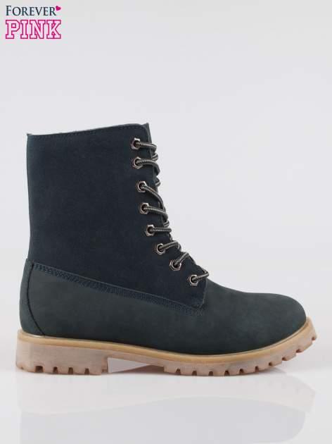 Granatowe wysokie buty trekkingowe traperki damskie ze skóry naturalnej