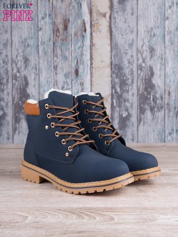 Granatowo-beżowe buty trekkingowe traperki Gossip ocieplane                                  zdj.                                  2