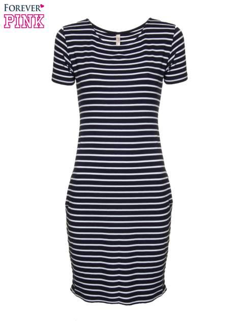 Granatowo-biała prosta sukienka w paski                                  zdj.                                  5
