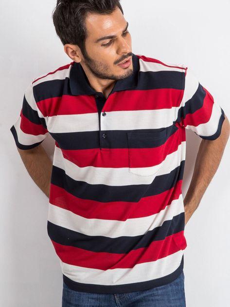 Granatowo-czerwona koszulka męska polo Thought                              zdj.                              5