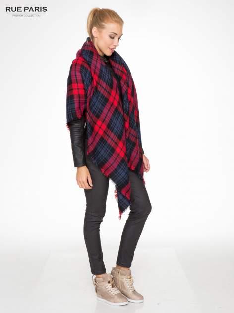 Granatowo-czerwony szalik damski w kratę                                  zdj.                                  6