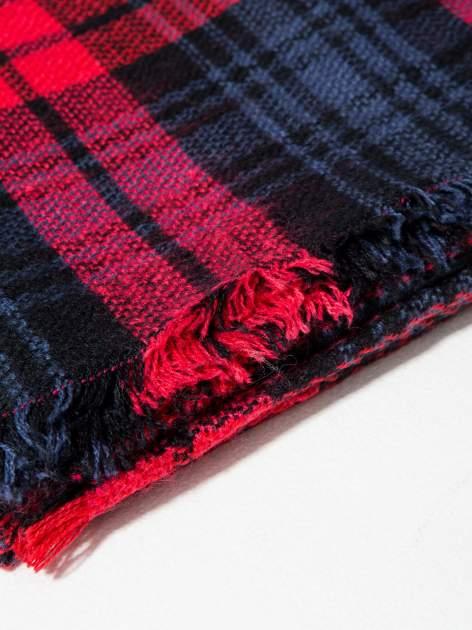 Granatowo-czerwony szalik damski w kratę                                  zdj.                                  10