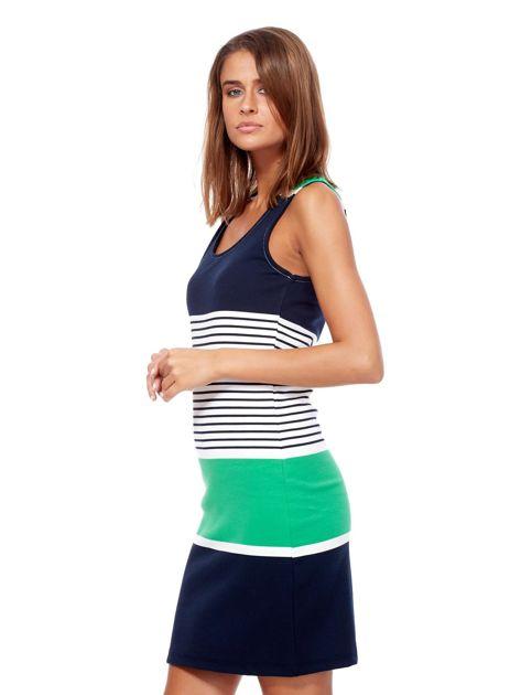 Granatowo-jasnozielona dopasowana sukienka w paski                              zdj.                              3