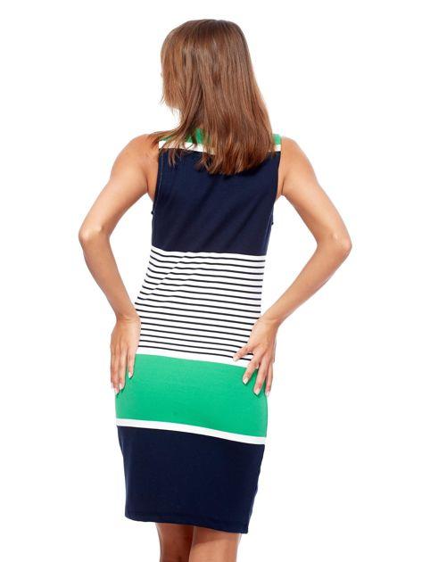 Granatowo-jasnozielona dopasowana sukienka w paski                              zdj.                              2