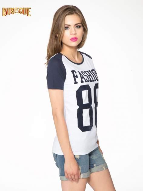 Granatowo-szary t-shirt z nadrukiem FASHION 88                                  zdj.                                  3