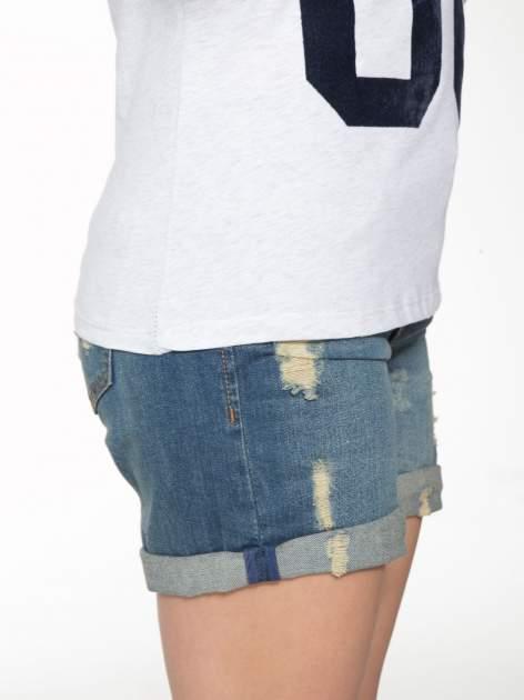 Granatowo-szary t-shirt z nadrukiem FASHION 88                                  zdj.                                  8