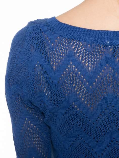 Granatowy ażurowy sweterek z rękawem 3/4                                  zdj.                                  7