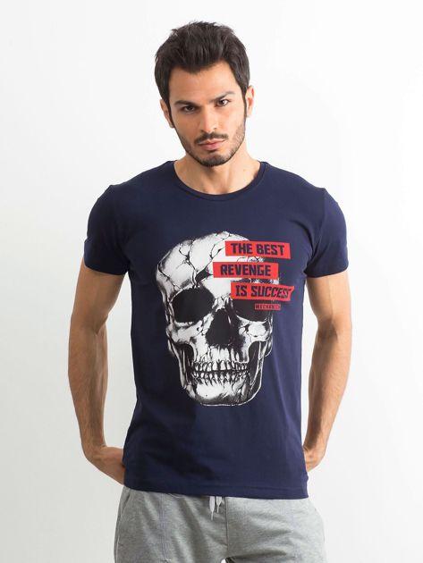 Granatowy bawełniany t-shirt męski z printem                              zdj.                              1