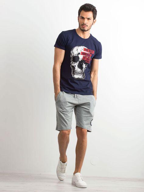 Granatowy bawełniany t-shirt męski z printem                              zdj.                              4