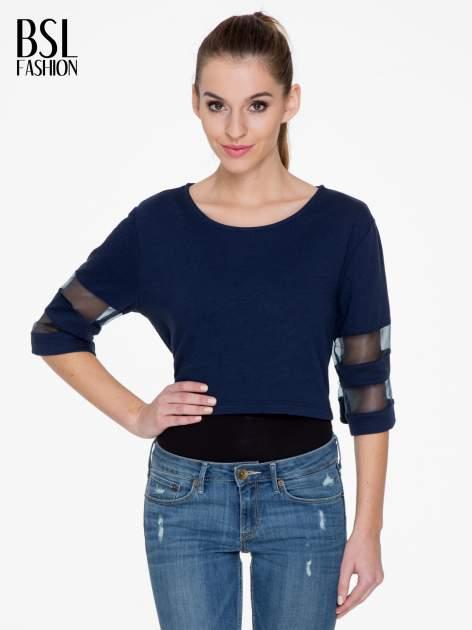 Granatowy cropped t-shirt z transparentnymi rękawami