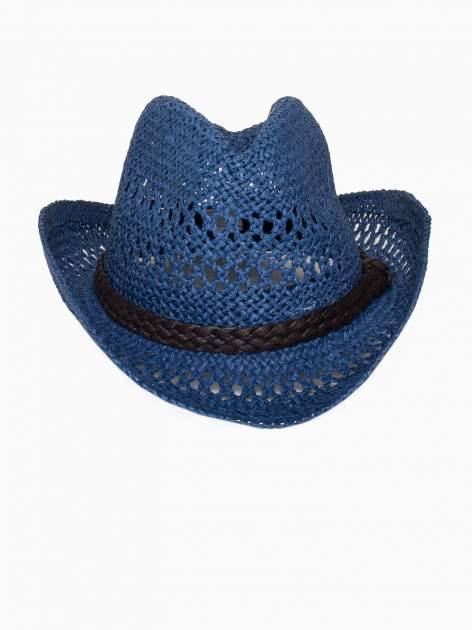 Granatowy damski kapelusz kowbojski z ciemną plecionką                                  zdj.                                  2