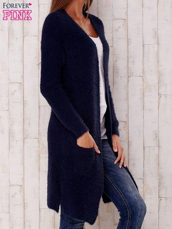 Granatowy długi puszysty sweter                                  zdj.                                  3
