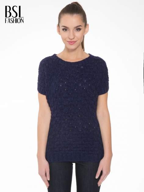 Granatowy dziergany sweterek z krótkim rękawem                                  zdj.                                  1