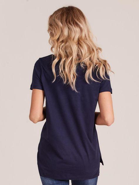 Granatowy gładki t-shirt damski                              zdj.                              2