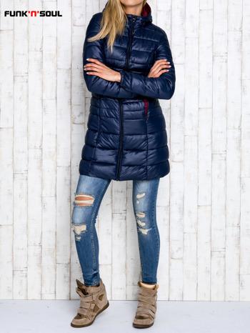 Granatowy pikowany płaszcz z kapturem FUNK N SOUL                                  zdj.                                  2