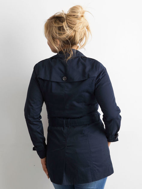 Granatowy płaszcz typu trencz                              zdj.                              3