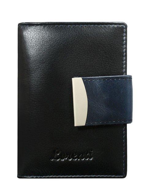 Granatowy portfel damski ze skóry z tłoczonym napisem