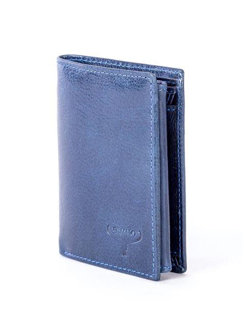Granatowy portfel skórzany z tłoczeniem                              zdj.                              3