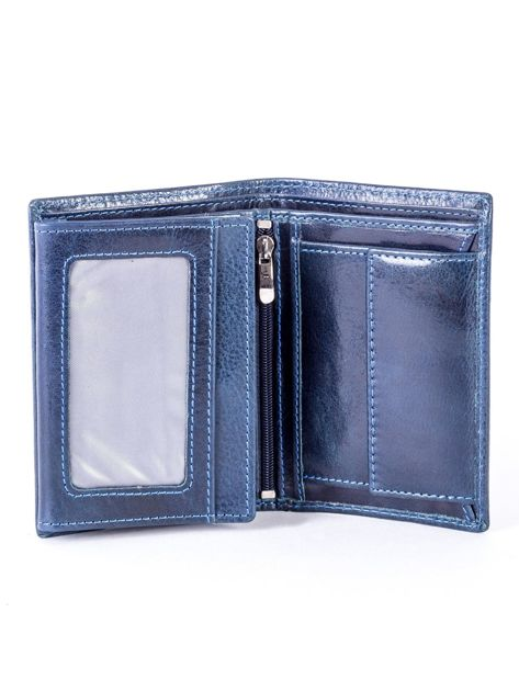 Granatowy portfel skórzany z tłoczeniem                              zdj.                              4
