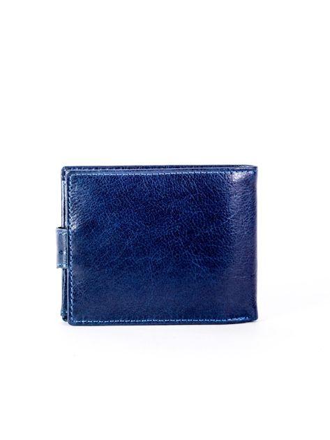 Granatowy portfel skórzany z zapięciem                              zdj.                              2