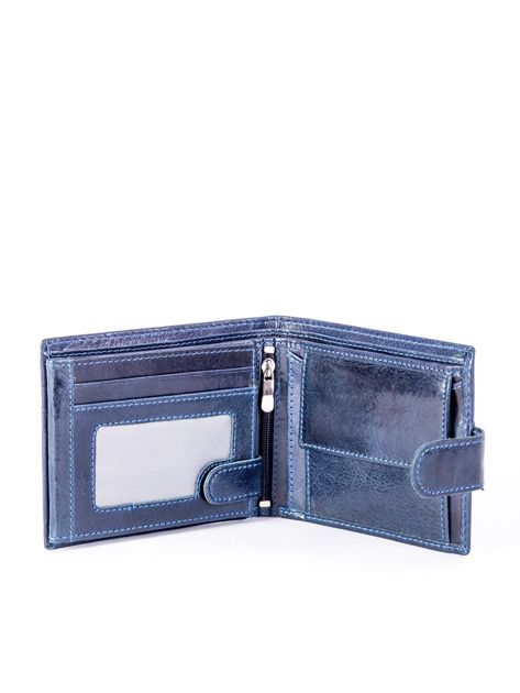 Granatowy portfel skórzany z zapięciem                              zdj.                              3