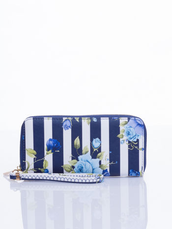 Granatowy portfel w kwiaty efekt saffiano                                  zdj.                                  1