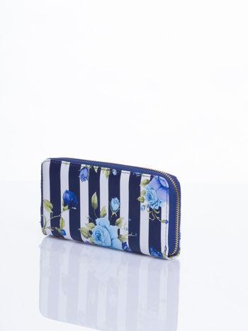 Granatowy portfel w kwiaty efekt saffiano                                  zdj.                                  2