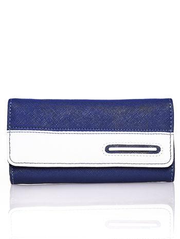 Granatowy portfel z białym wykończeniem