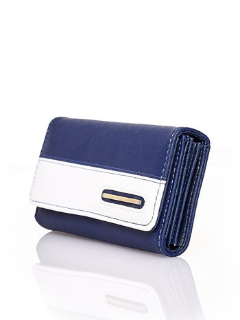 Granatowy portfel z białym wykończeniem                                  zdj.                                  3