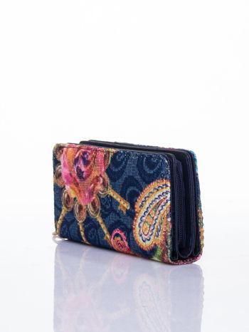 Granatowy portfel z nadrukiem paisley                                  zdj.                                  3