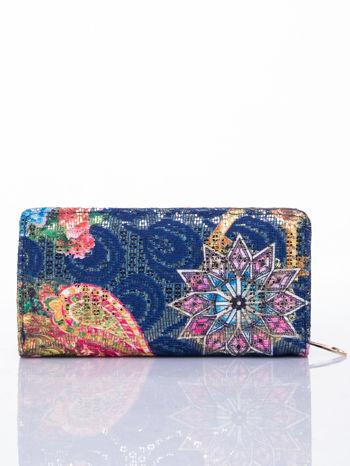 Granatowy portfel z nadrukiem paisley                                  zdj.                                  2