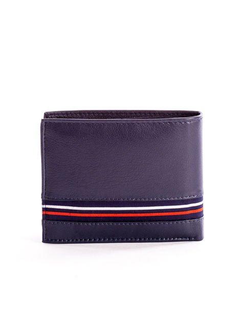 Granatowy skórzany portfel męski z materiałowym modułem                              zdj.                              2