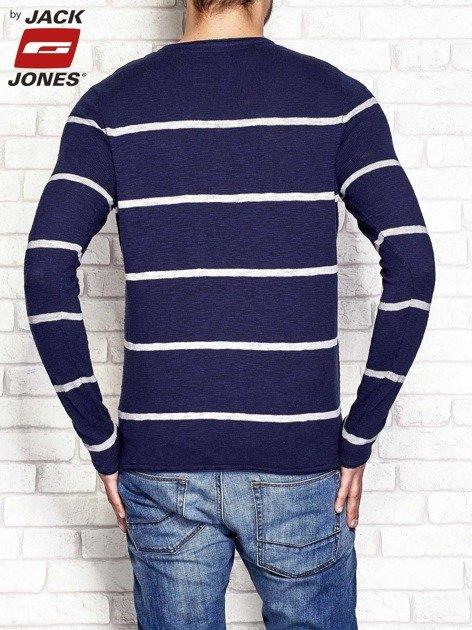 Granatowy sweter męski w pasy