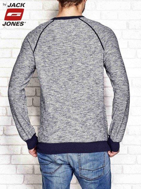 Granatowy sweter męski z kontrastowymi ściągaczami