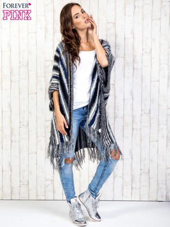 Granatowy sweter poncho z frędzlami                                   zdj.                                  4